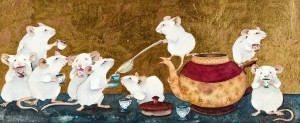 Jackie Morris - Nine white mice happy as can be with tiny china teacups and a big pot of tea